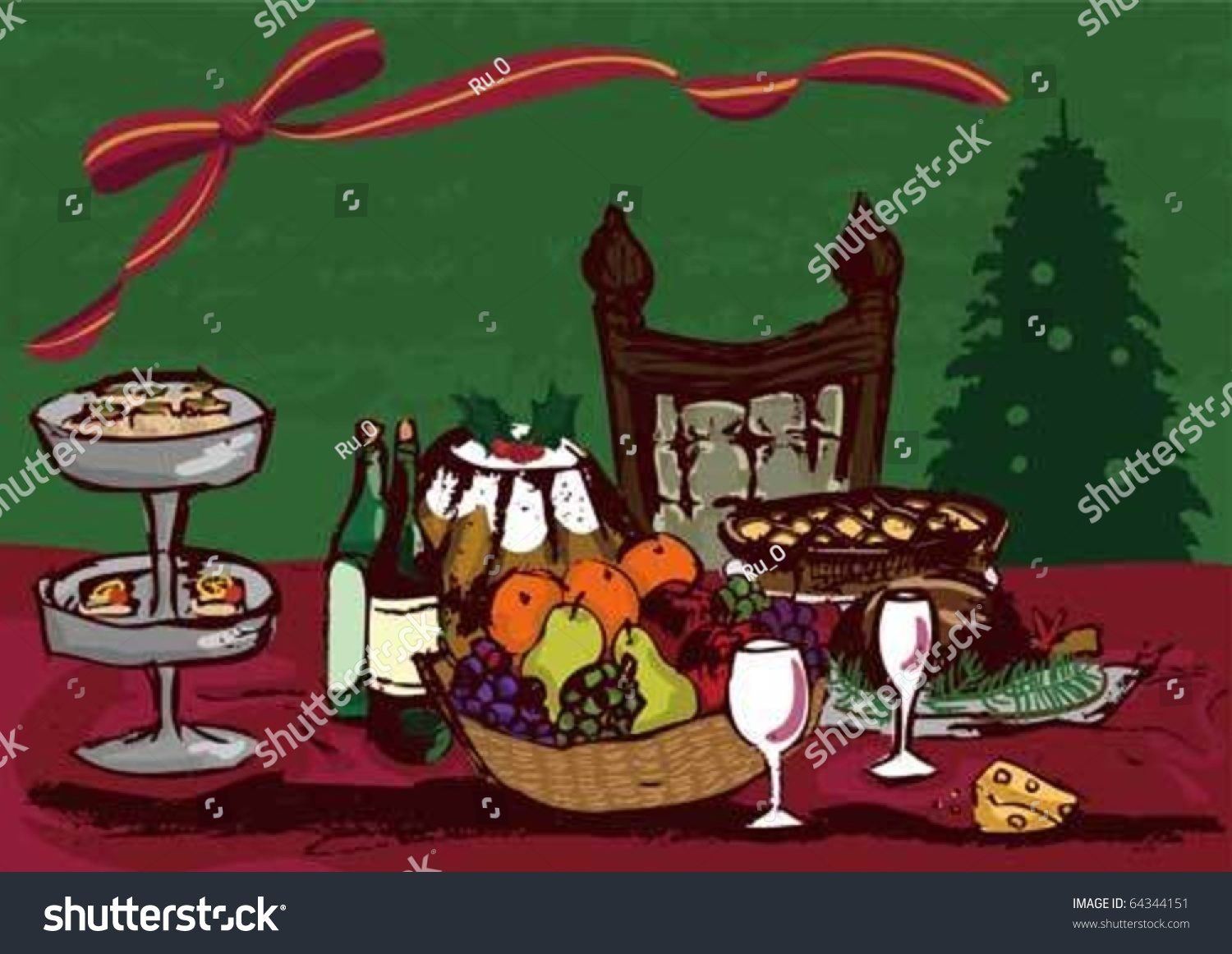 Dinner table with food - Christmas Dinner Table Vectors Food On The Table