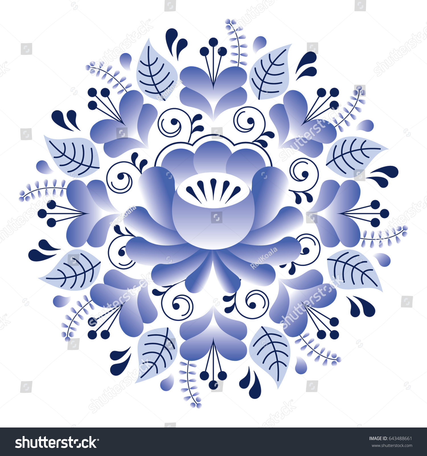 Artistic floral element abstract gzhel folk art blue flowers stock - Folk Art Floral Pattern Russian Design Inspired By Gzhel Ceramics Style