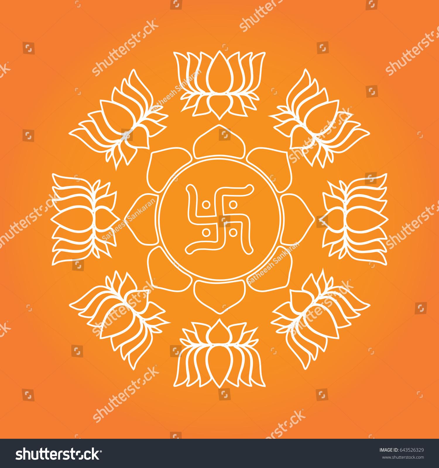 Swastika hindu religious symbol swastika vector stock vector swastika hindu religious symbol swastika vector illustration on lotus floral background pattern biocorpaavc
