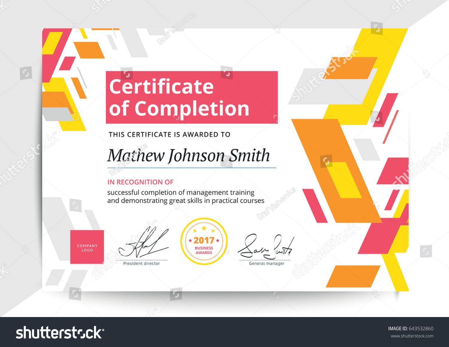 Certificate Completion Template Modern Design Business Stock Vector ...