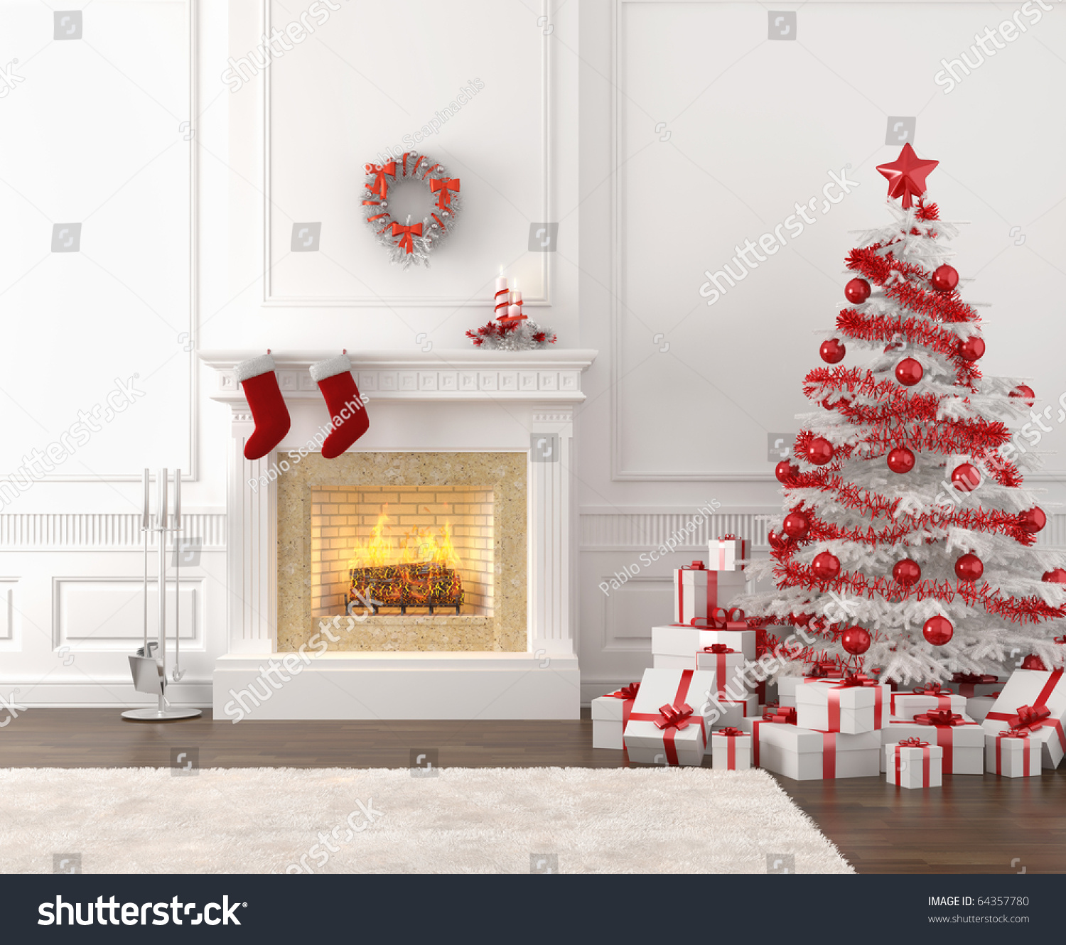 Bright White Fireplace Contemporary Living Room: Modern Style Interior Of Fireplace With Christmas Tree And