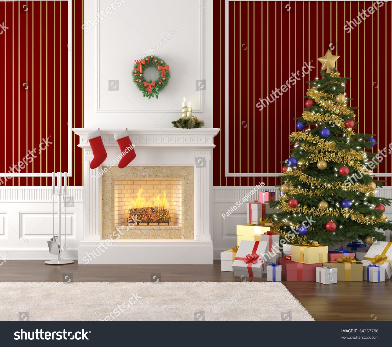 Traditional And Stylish Interior With Fireplace, Christmas