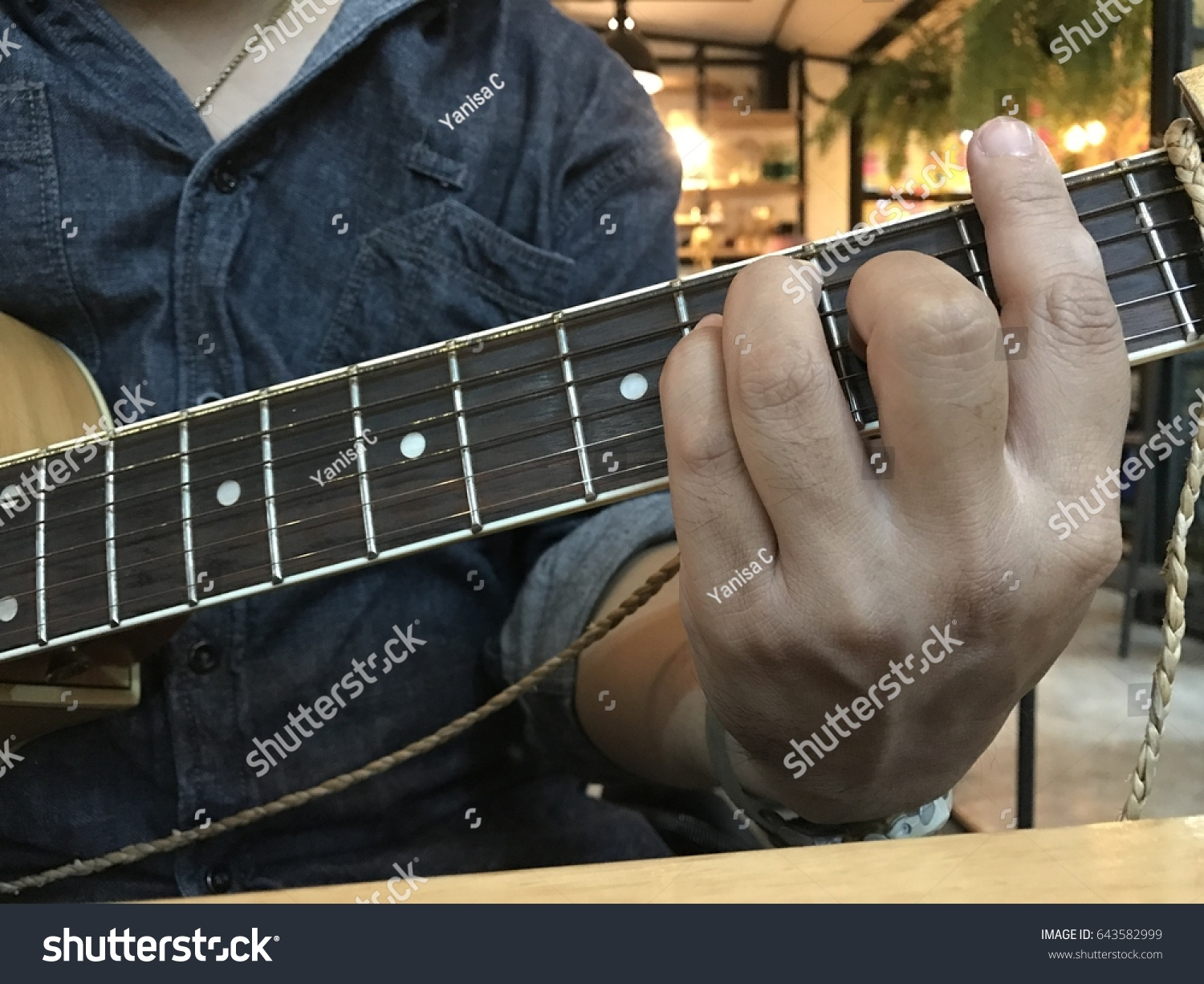 Fingers On Guitar F Chord Stock Photo Royalty Free 643582999
