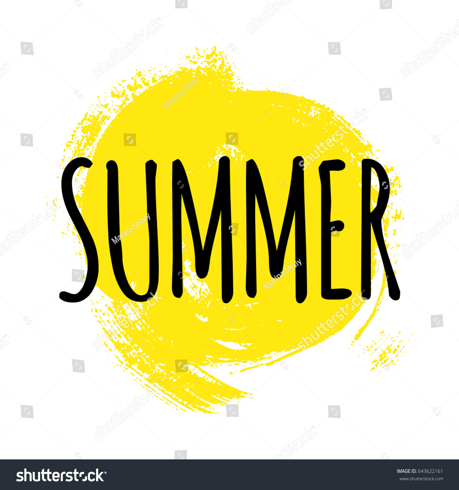 Summer Lettering Vector Illustration Yellow Acrylic Stock Vector