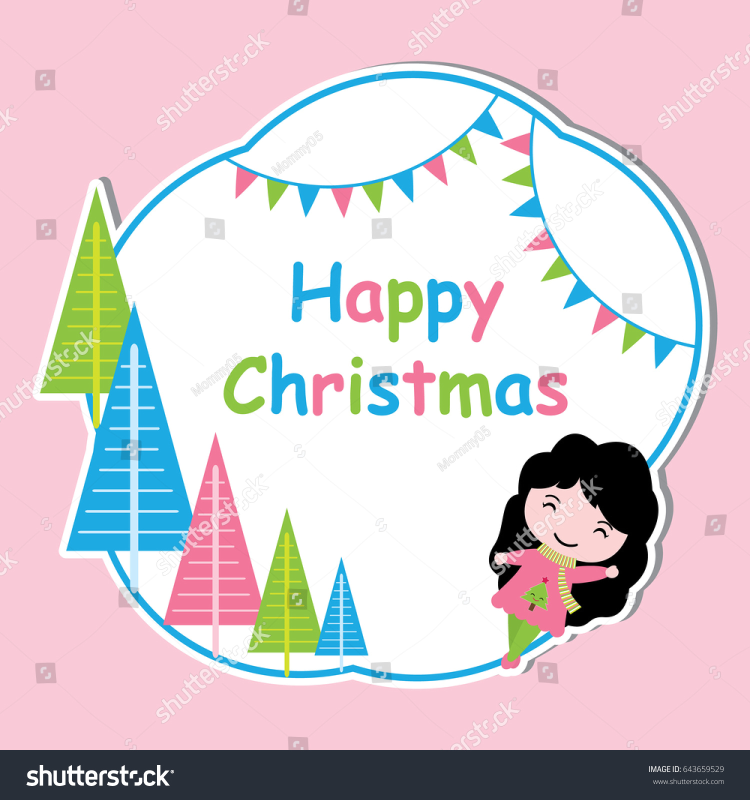 Vector bunting flags lovely celebration card with colorful paper - Cute Girl And Colorful Xmas Tree Frame Vector Cartoon Xmas Postcard Wallpaper And