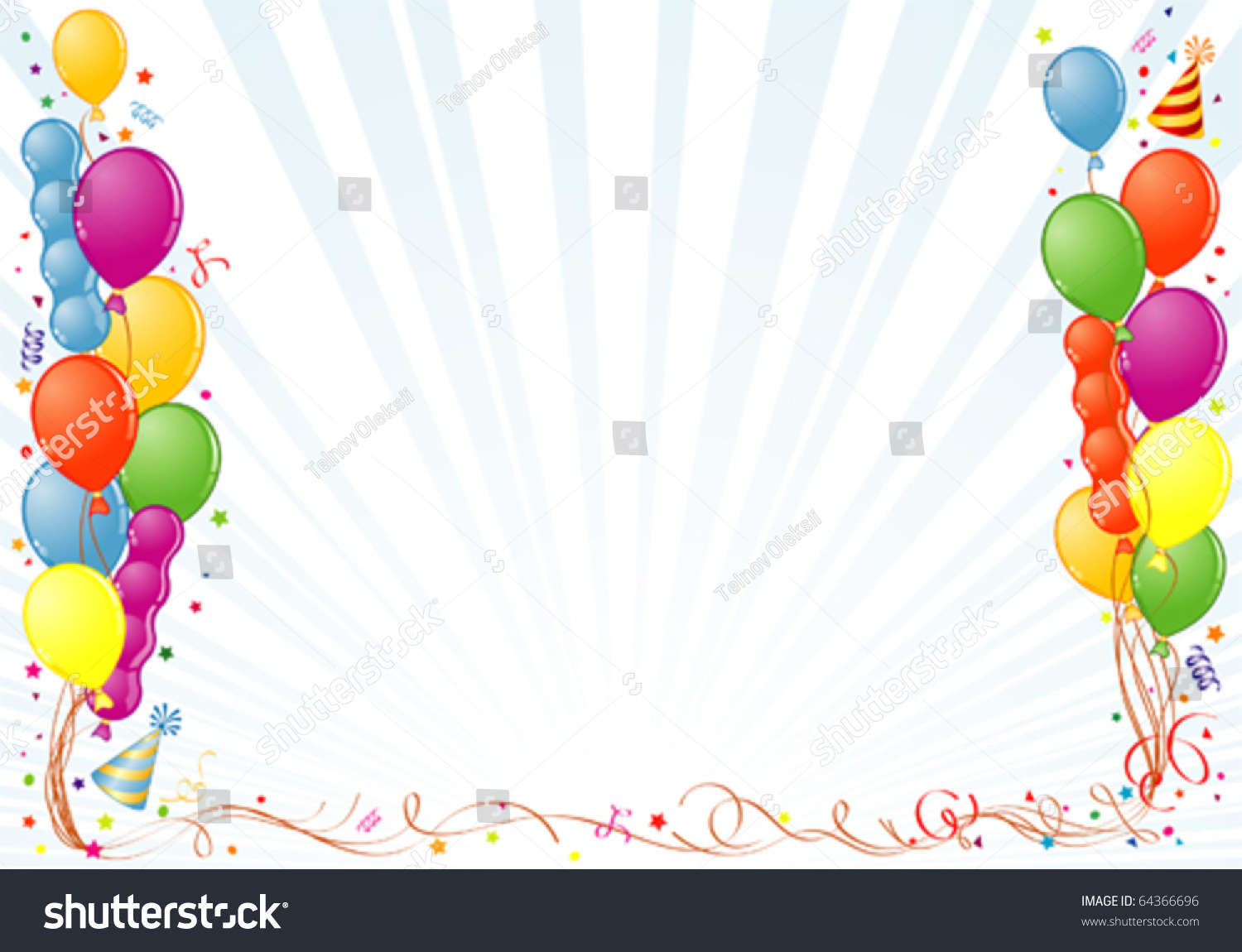 birthday frame with balloon streamer and party hat element for design vector illustration