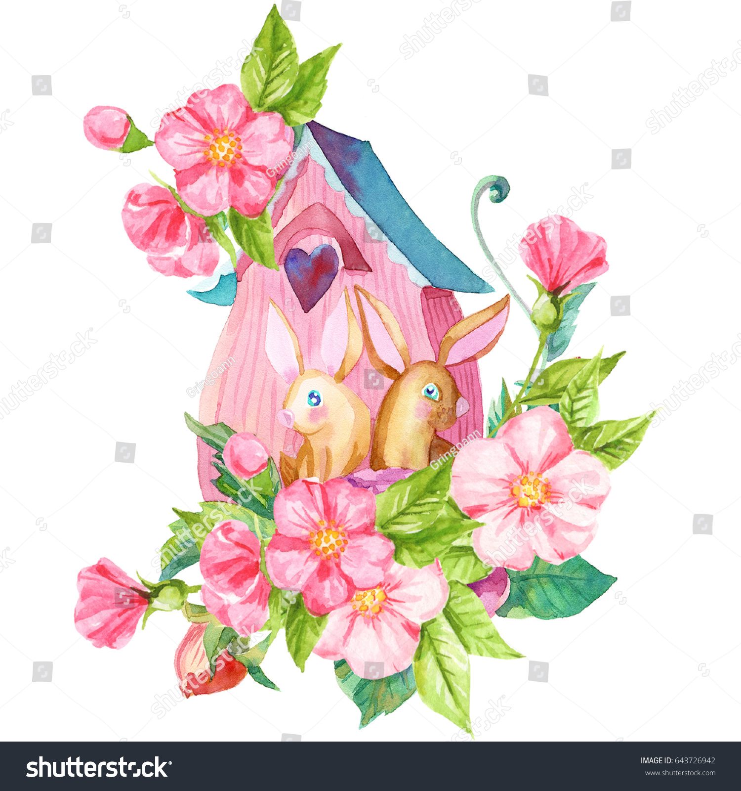 Bunnies Pink Flowers Near House Watercolor Stock Illustration ...