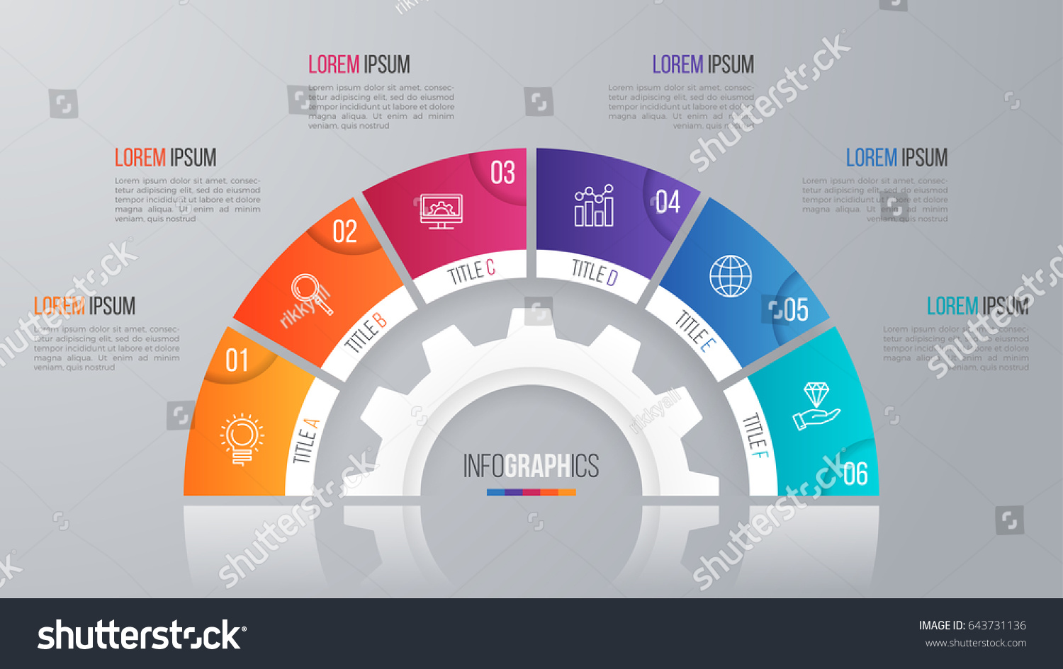 Vector Circle Chart Template Infographics 6 Stock Vector 643731136 ...