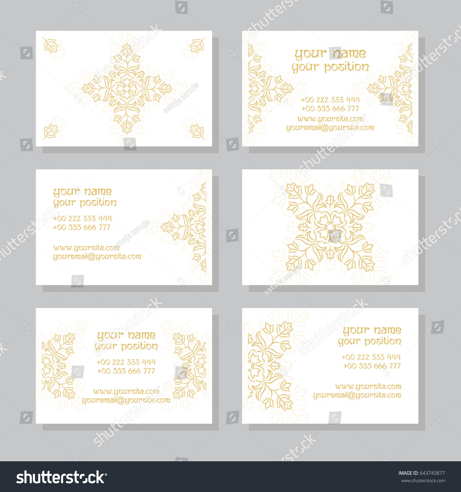 Collection Blank White Gold Visiting Card Stock Vector 643743877 ...