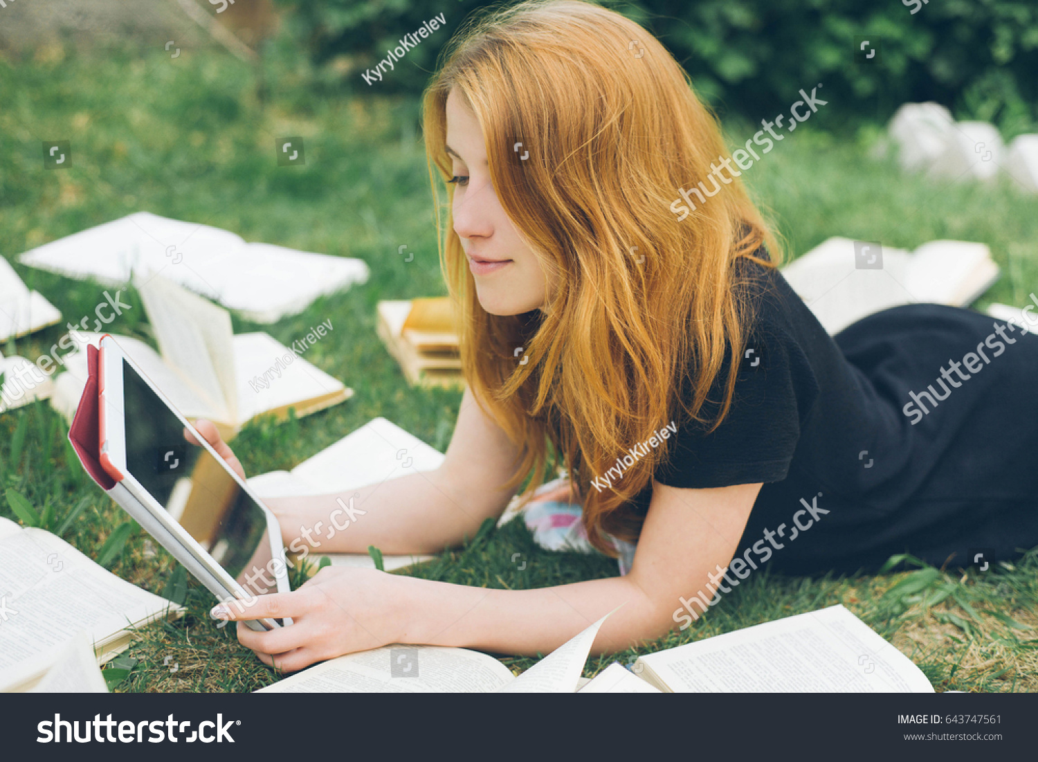 Woman Learning Ebook Reader Book Choice Stock Photo ...