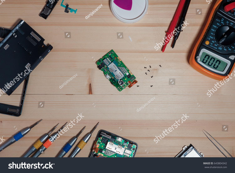 Mobile Phone Repairing Wood Table Stock Photo Edit Now 643804342