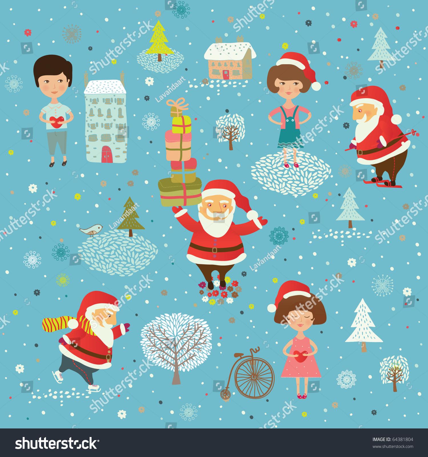 Winter Christmas Background Happy Kids Santa Stock Vector (Royalty ...