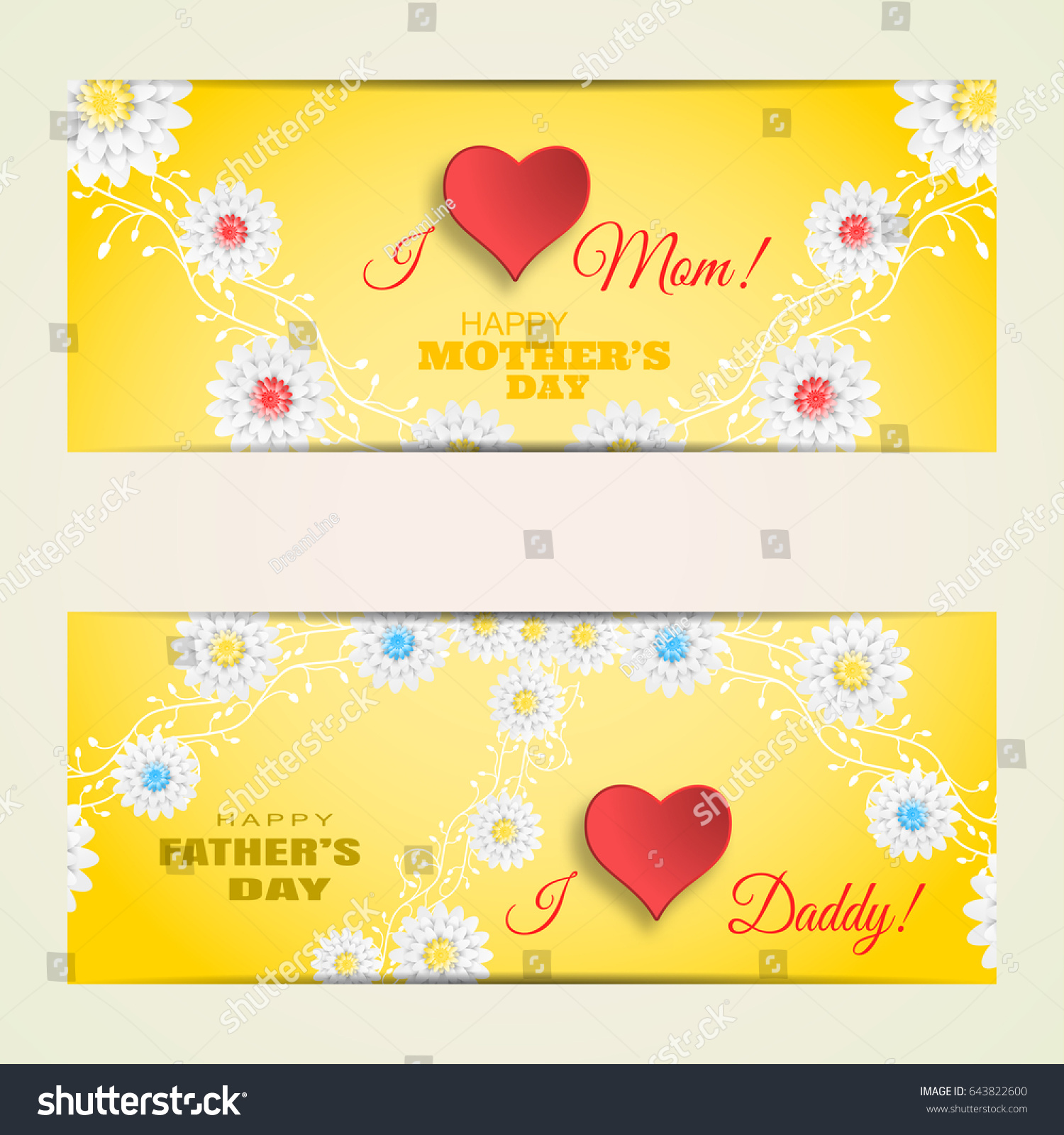 Vector Greeting Cards Set Happy Mothers Stock Vector Royalty Free