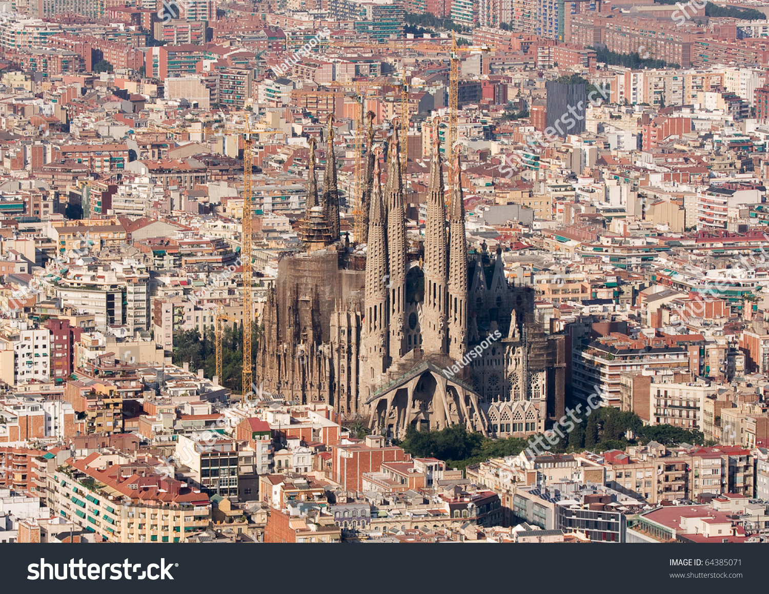 Barcelona - July 10: Aerial View Of The Sagrada Familia, Antoni GaudiS U...