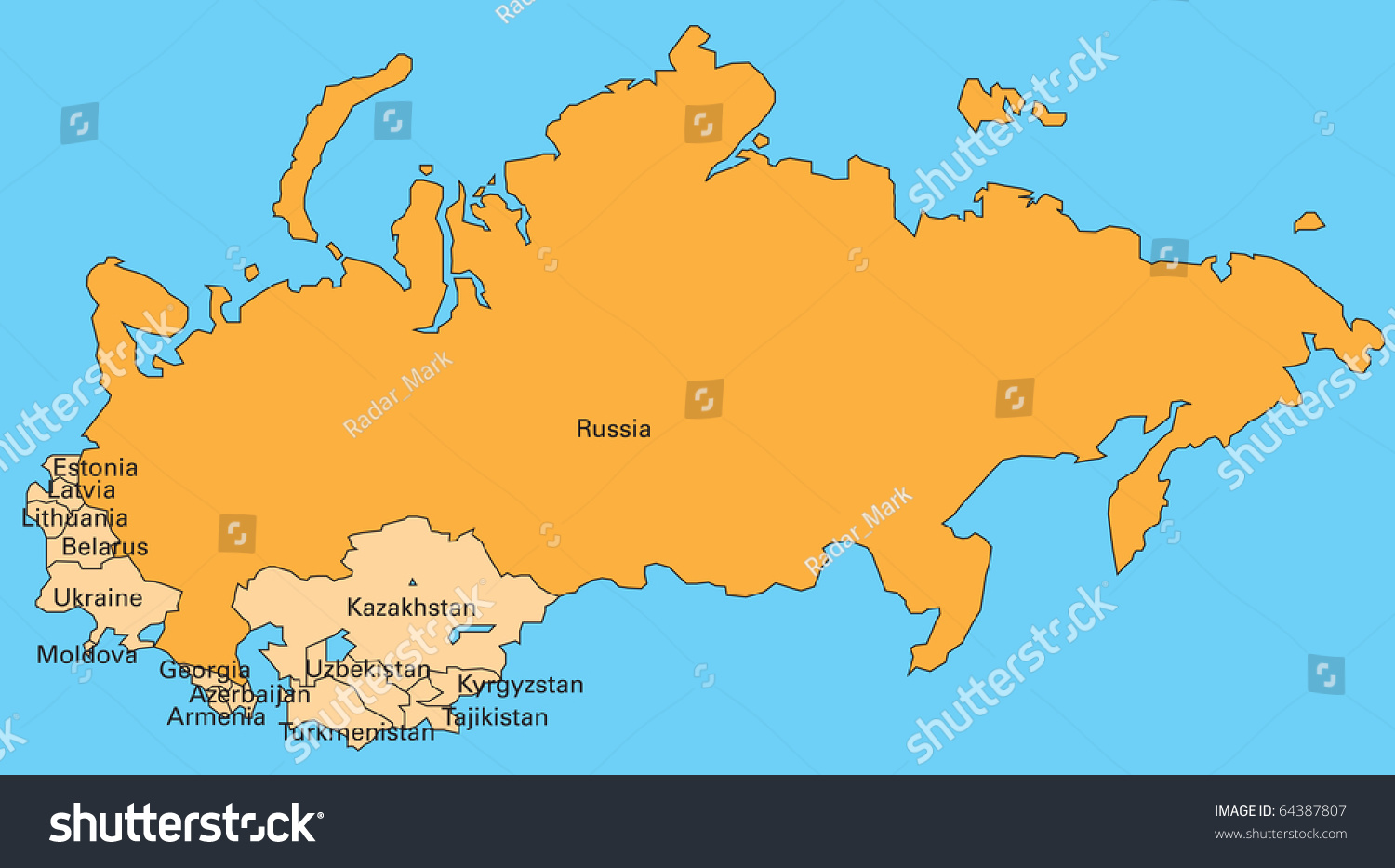 Map Russia Former Members Soviet Union Stock Illustration 64387807