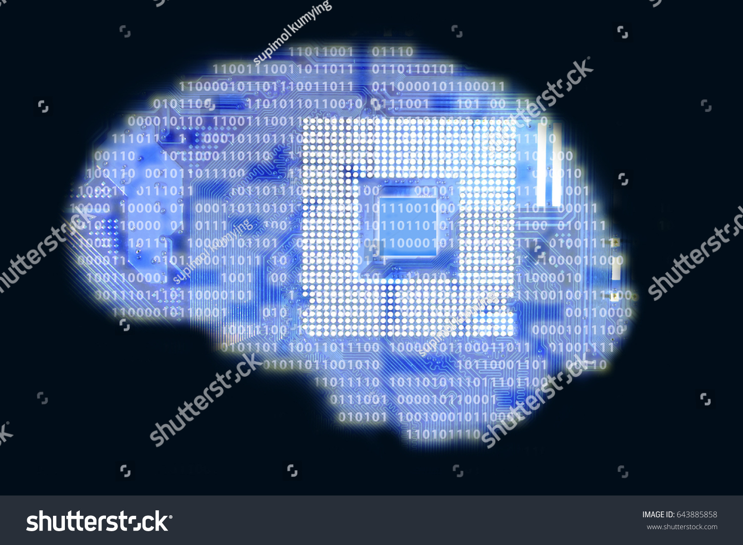 Circuit Board Computer Cpu Socket Binary Stock Illustration Code On And Style Brain Technology Background