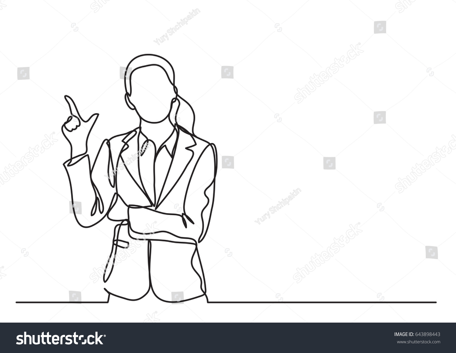 Standing Business Woman Pointing Continuous Line Stock ...