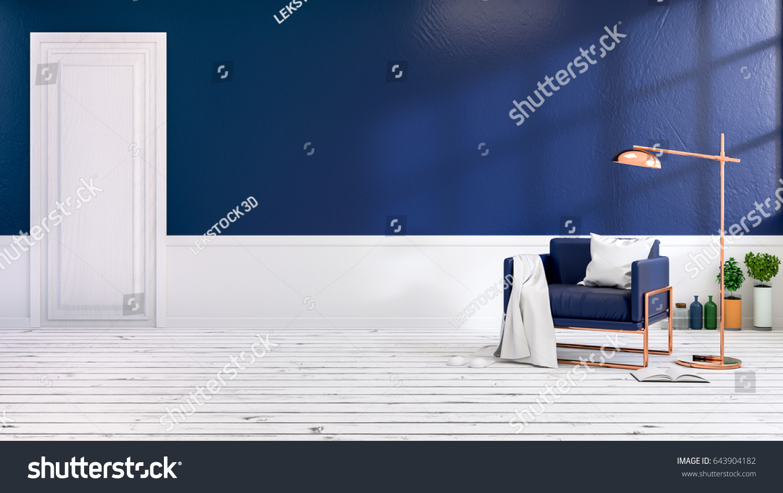 Modern Loft Interior Living Room Blue Stock Illustration 643904182 ...
