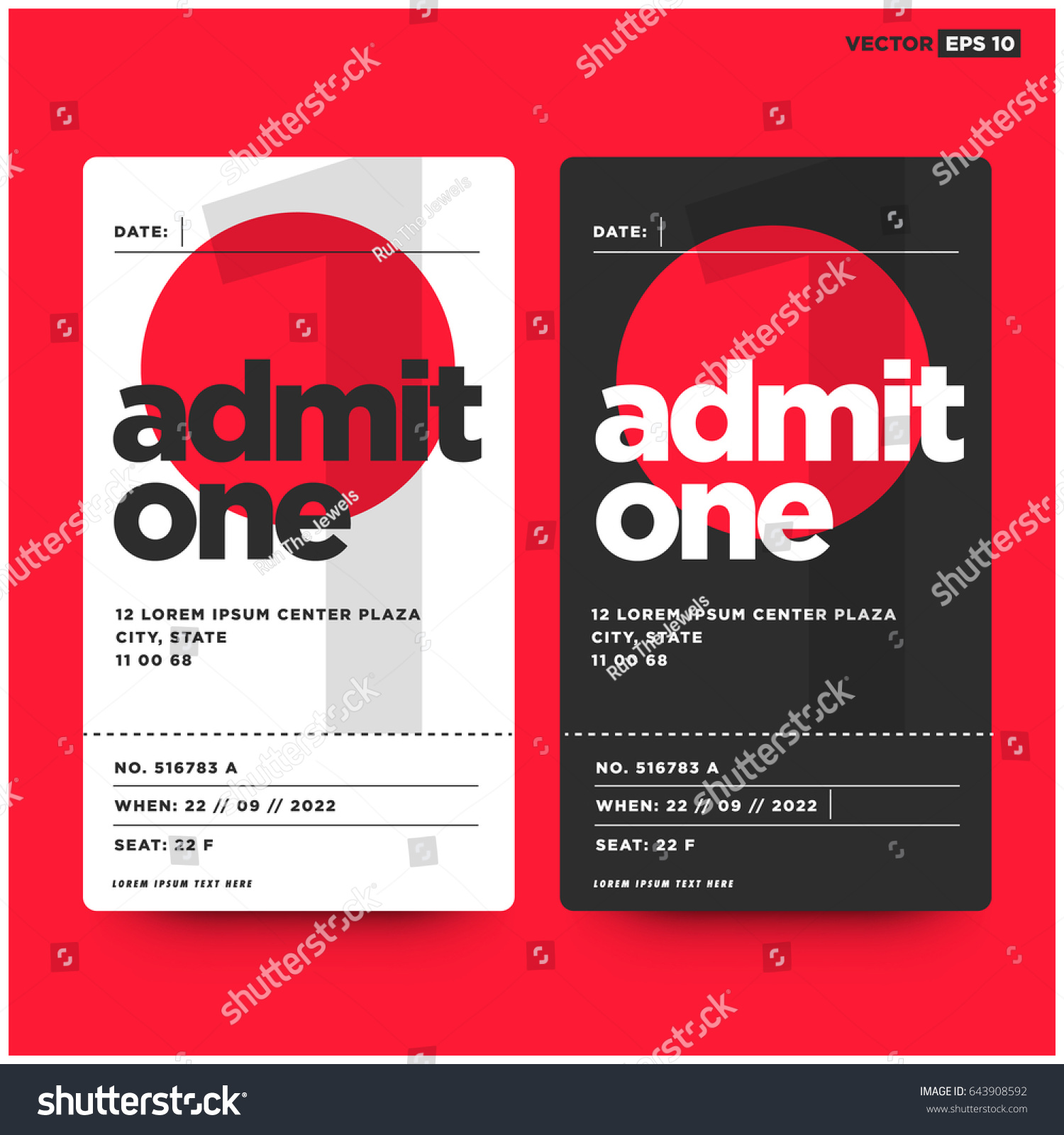 admit one ticket template with number venue and seat details