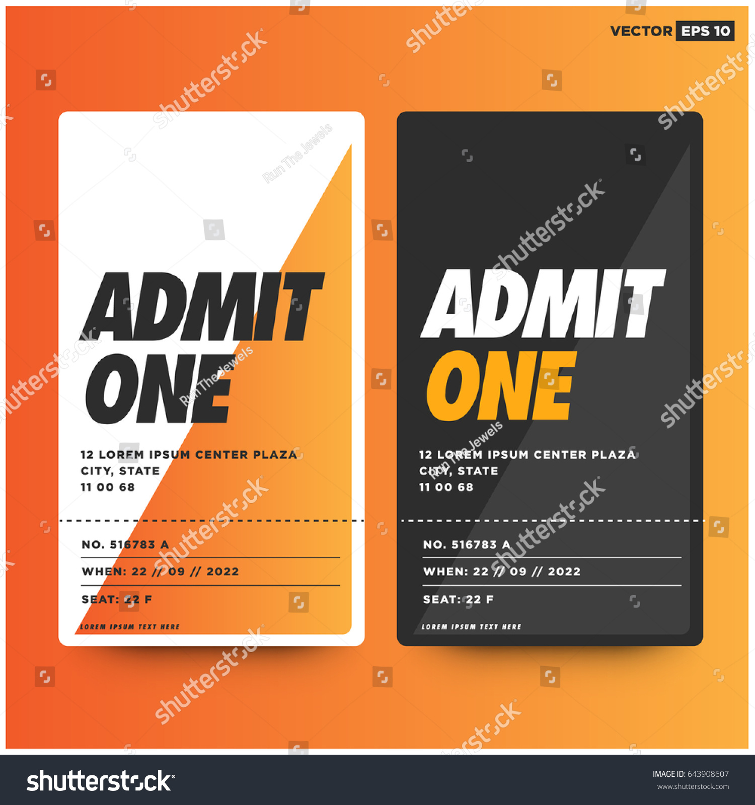 Admit One Ticket Template Number Venue Stock Vector 643908607 ...