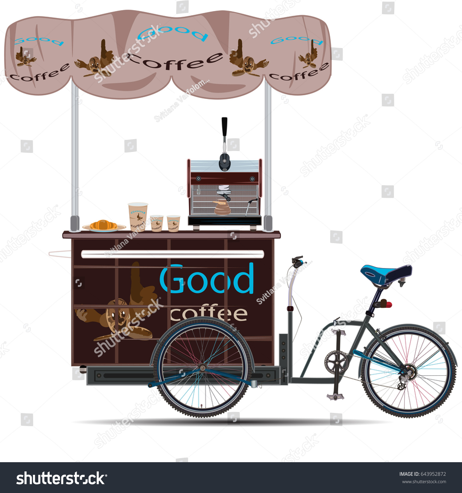Vector Illustration Of Tricycles Coffee Bike Isolated On White Background Mobile Business Template
