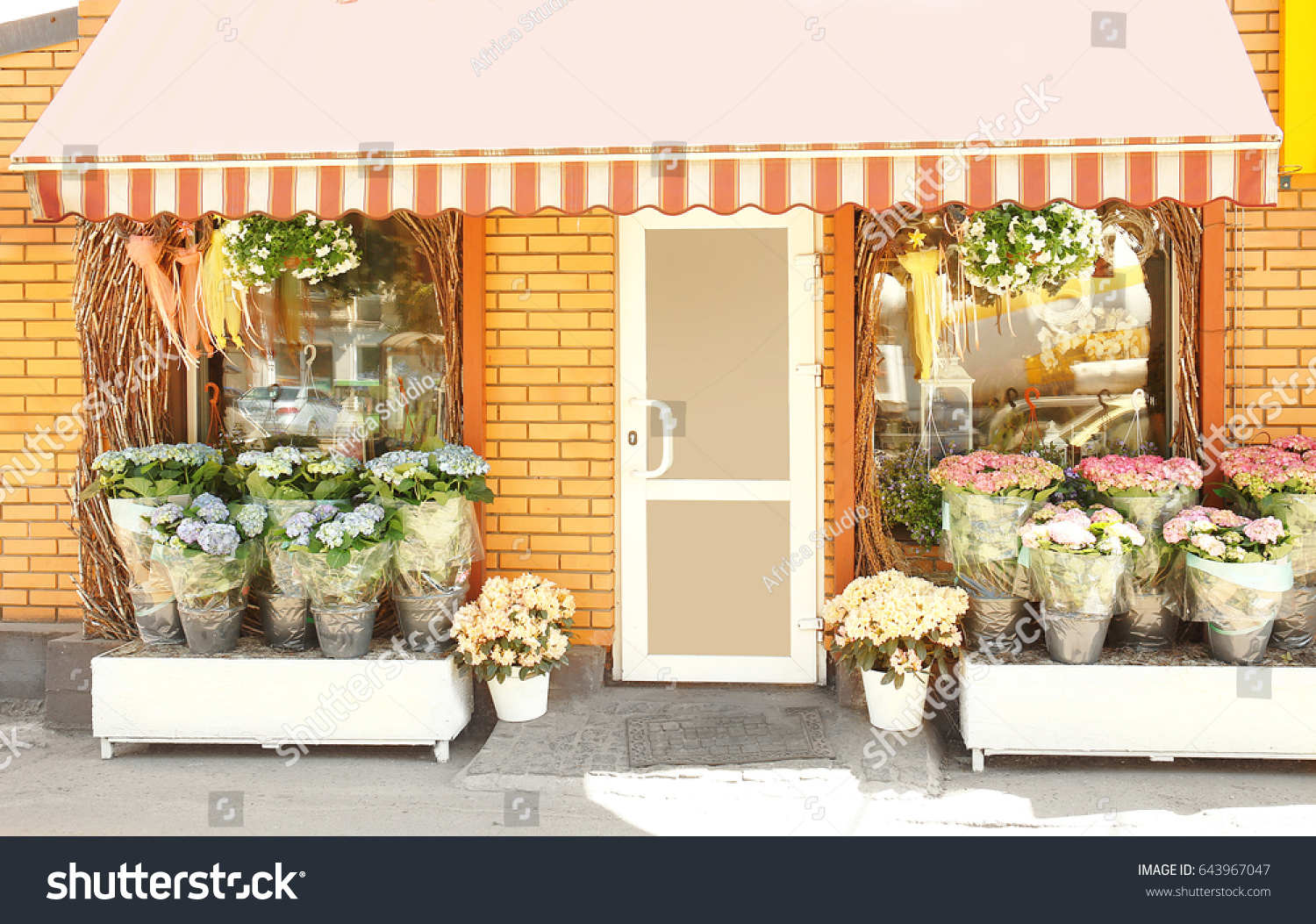 Facade beautiful flower shop on sunny stock photo edit now facade of beautiful flower shop on sunny day izmirmasajfo