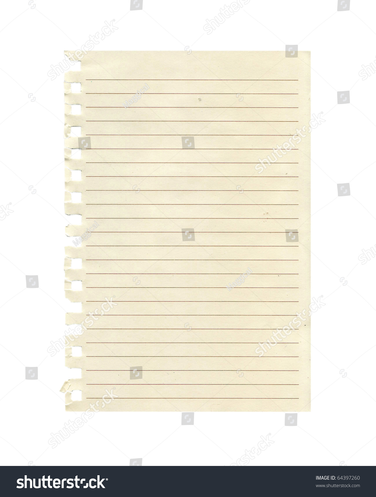 Sheet of lined paper