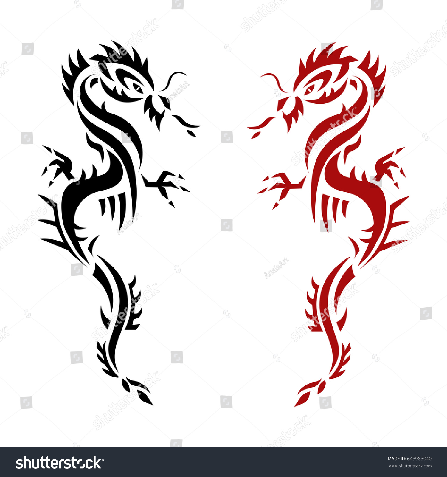 Set dragon tattoo emblem traditional chinese stock vector set dragon tattoo or emblem traditional chinese asian style the symbol of wealth and luxury buycottarizona Images