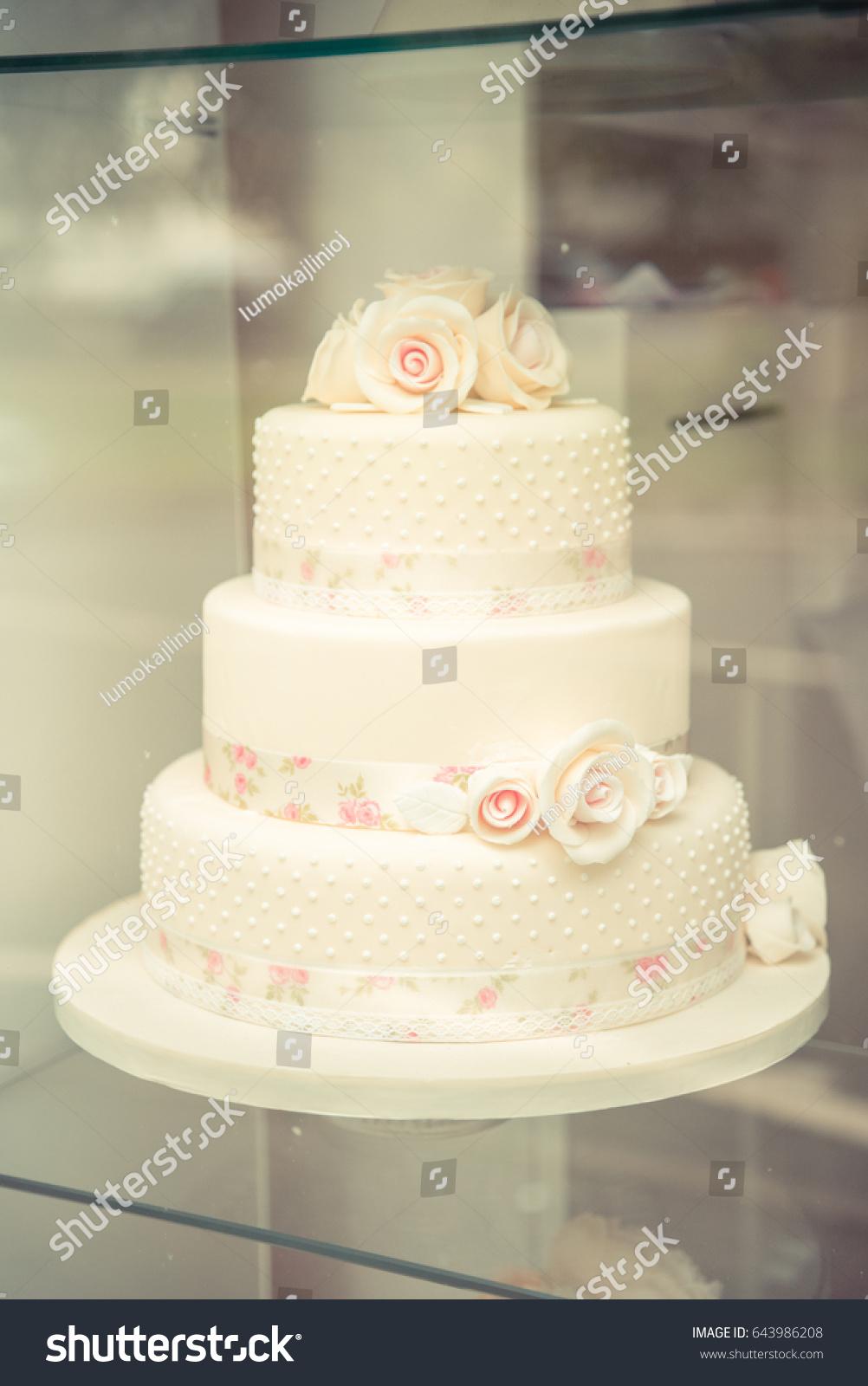 Classic White Wedding Cake Pink Flowers Stock Photo Royalty Free