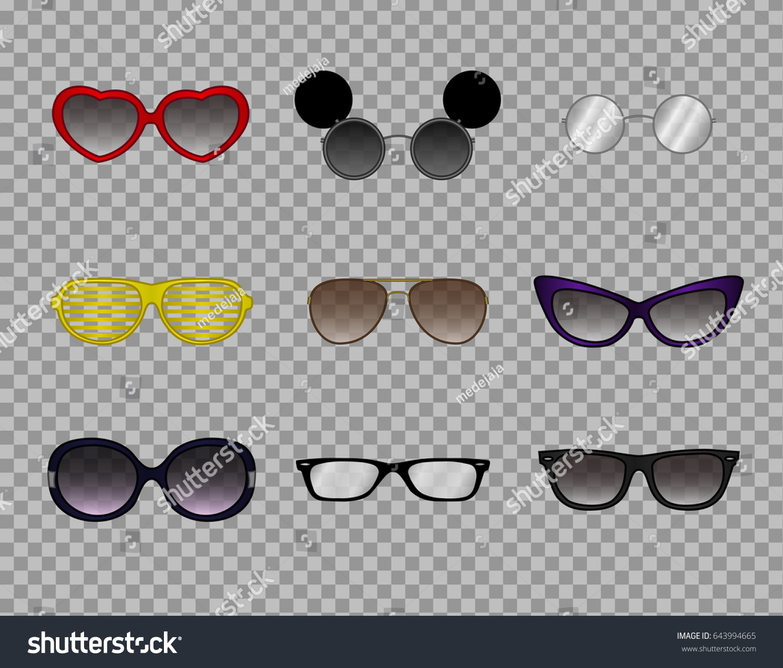 Collection Trendy Glasses Stylish Modern Eyewear Stock Vector ...