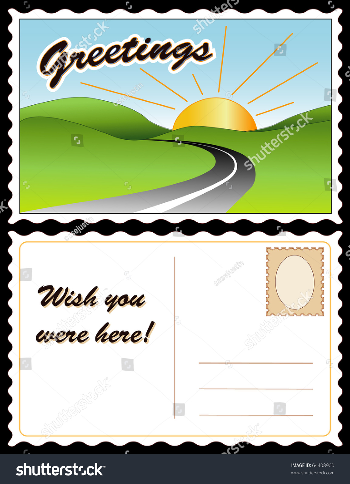 POSTCARD Greetings Wish You Were Here Full Size Postcard Front And Back