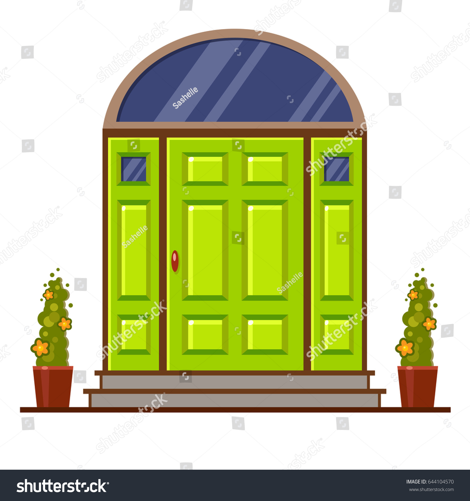 Bright Green Modern Front Door Two Stock Vector HD Royalty Free