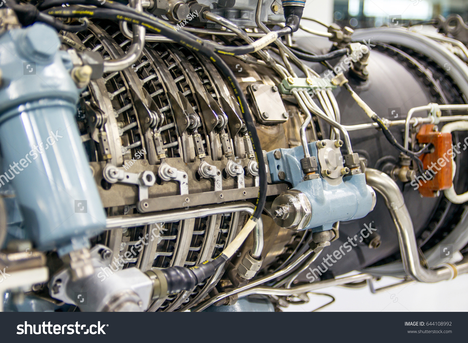Aircraft engine. Internal components of the aircraft engine