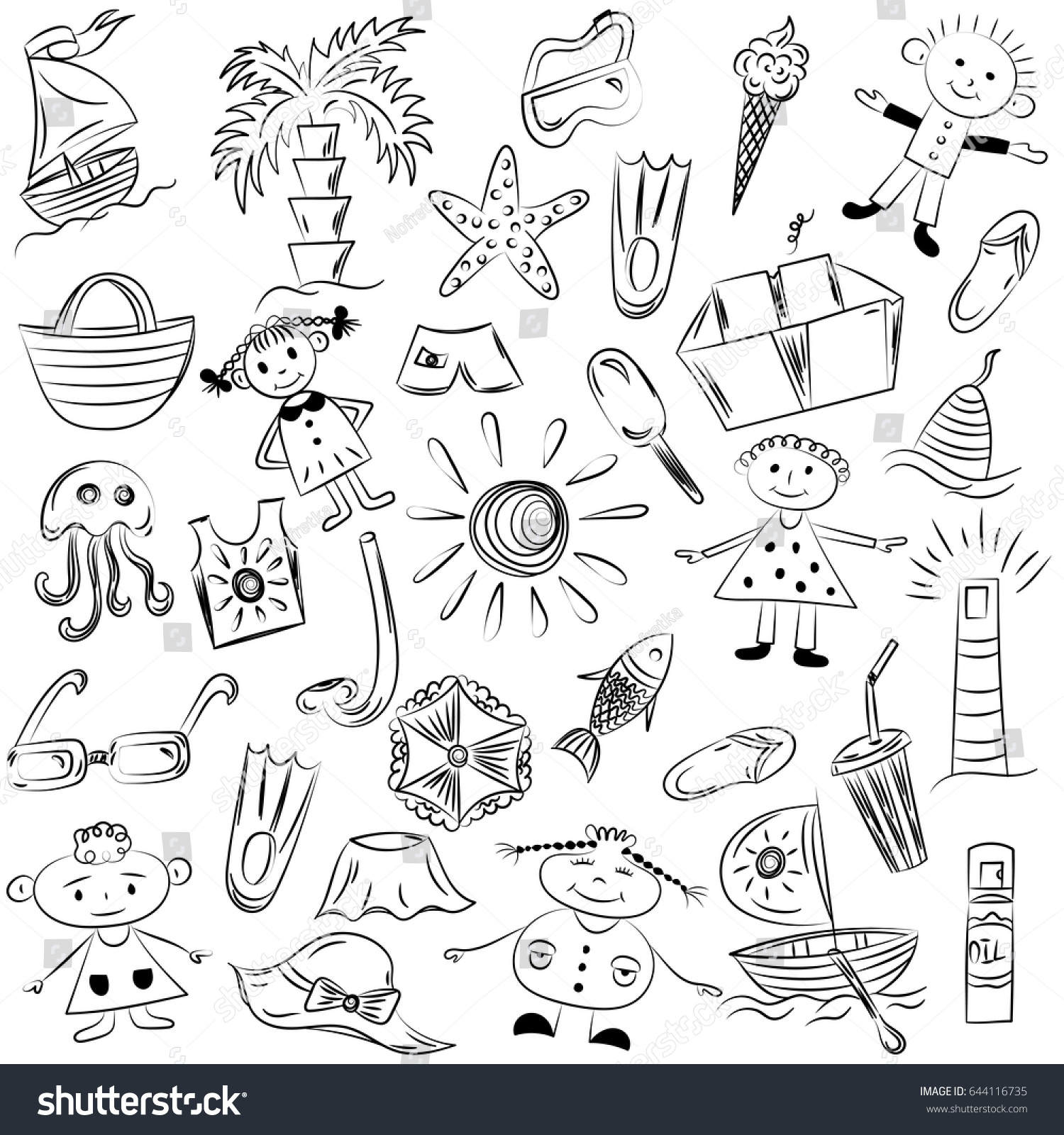 Uncategorized Drawings Of Summer hand drawings summer vacancies symbols doodle stock vector of boats ice cream palms hat