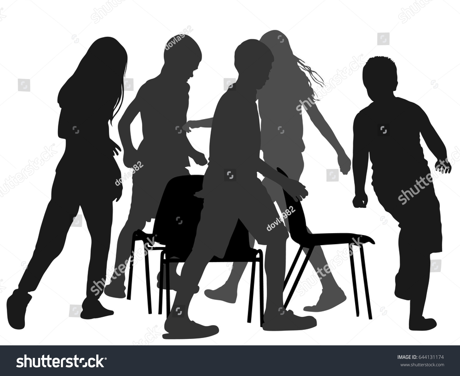 Musical chair game for kids - Children Playing Music Chair Game Vector Silhouette Illustration Happy Birthday Animation Kids Run