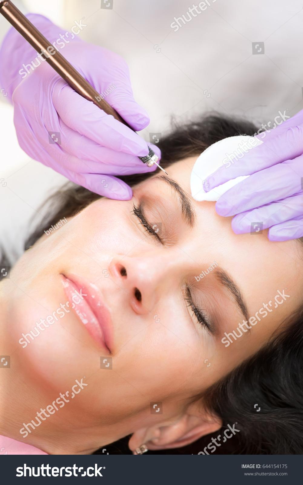 Procedure Making Permanent Makeup Eyebrows Closeup Stock Photo Edit