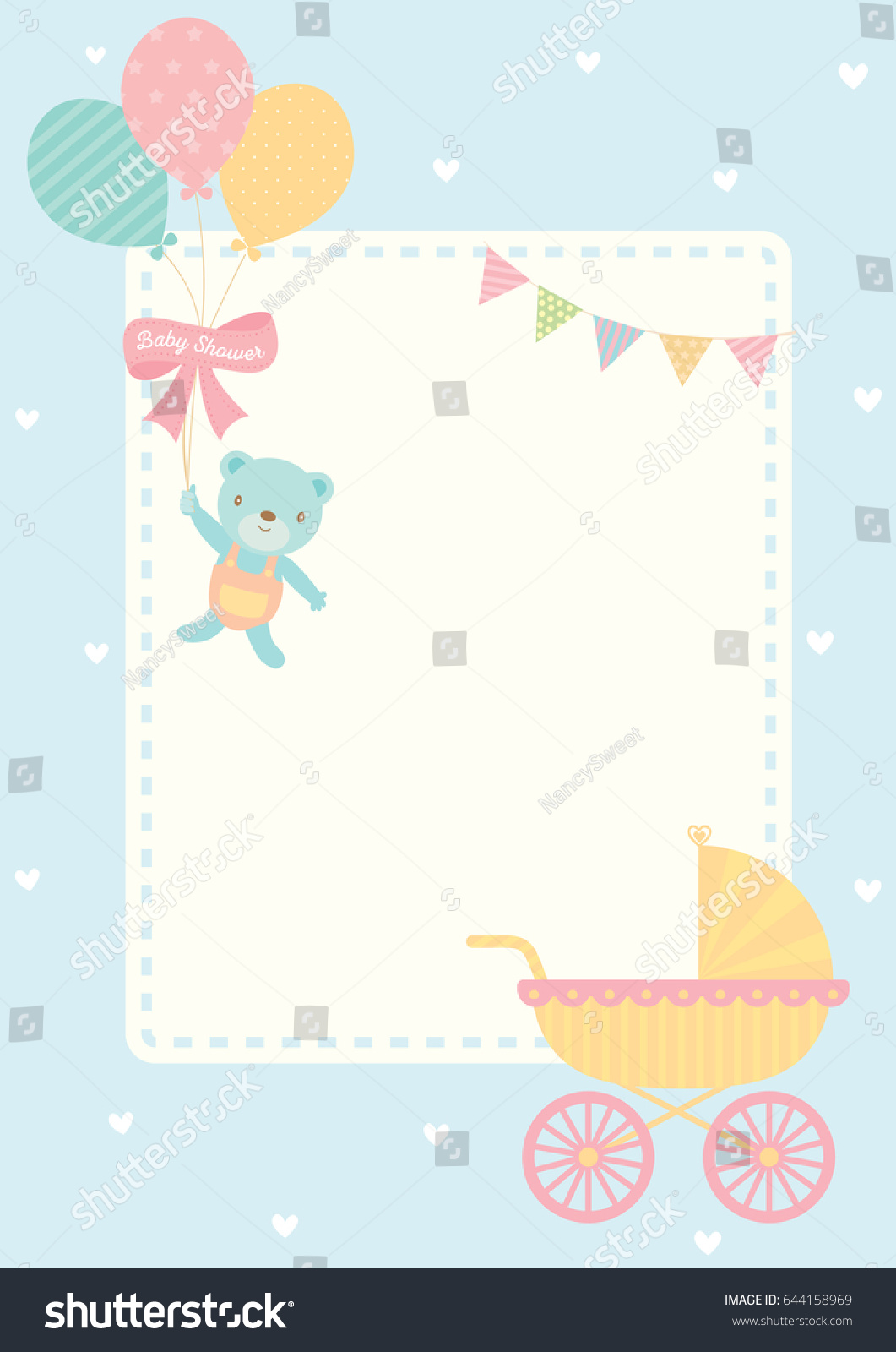 Vector bunting flags lovely celebration card with colorful paper - Cute Baby Shower Greeting Card For New Born Decorated With Baby Carriage And Bear Doll Hold