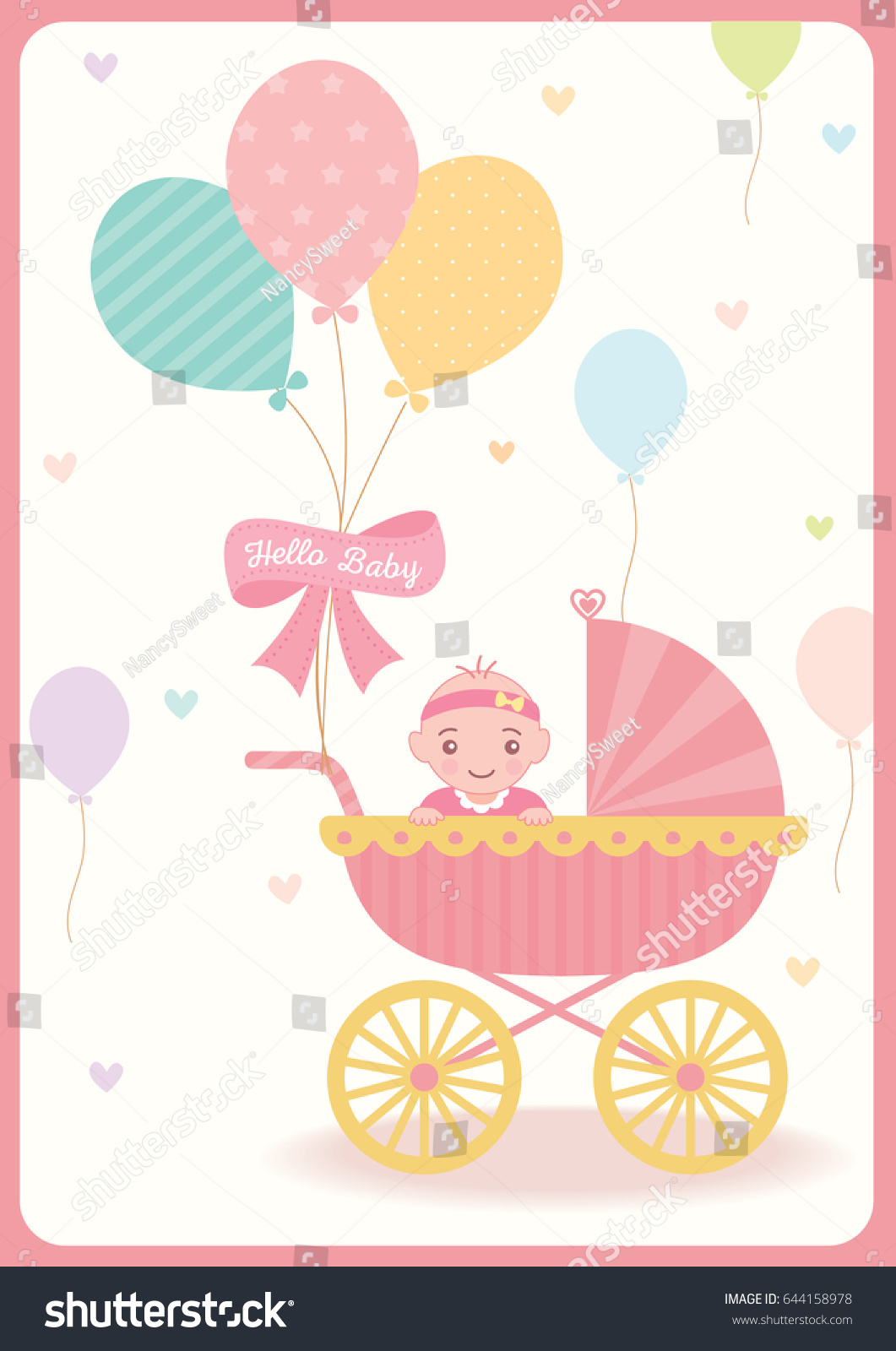 Cute Baby Girl Shower Greeting Card Stock Vector Royalty Free