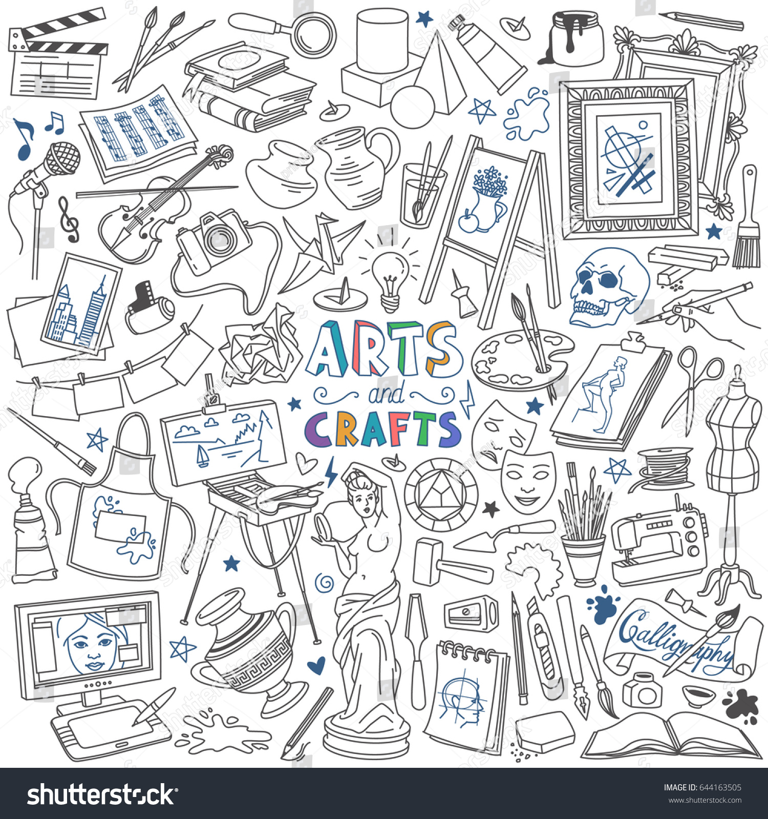 Arts Music Photography: Arts Crafts Doodles Set Drawing Painting Stock Vector