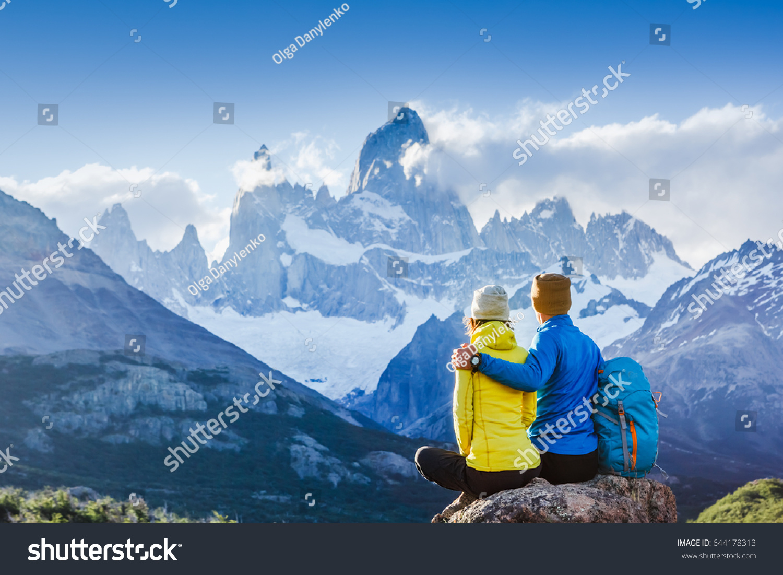 Travelers Couple Love Enjoying View Majestic Stock Photo Edit Now