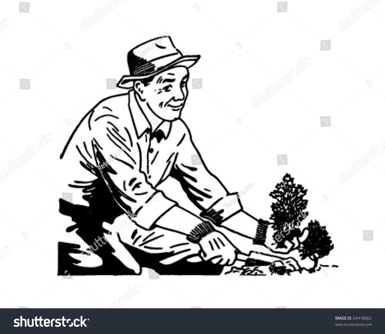 stock vector gardener retro clipart illustration