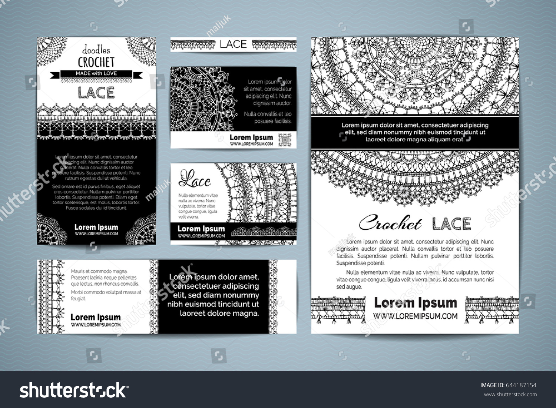 Set Corporate Lace Crochet Templates Vector Stock Vector 644187154 ...