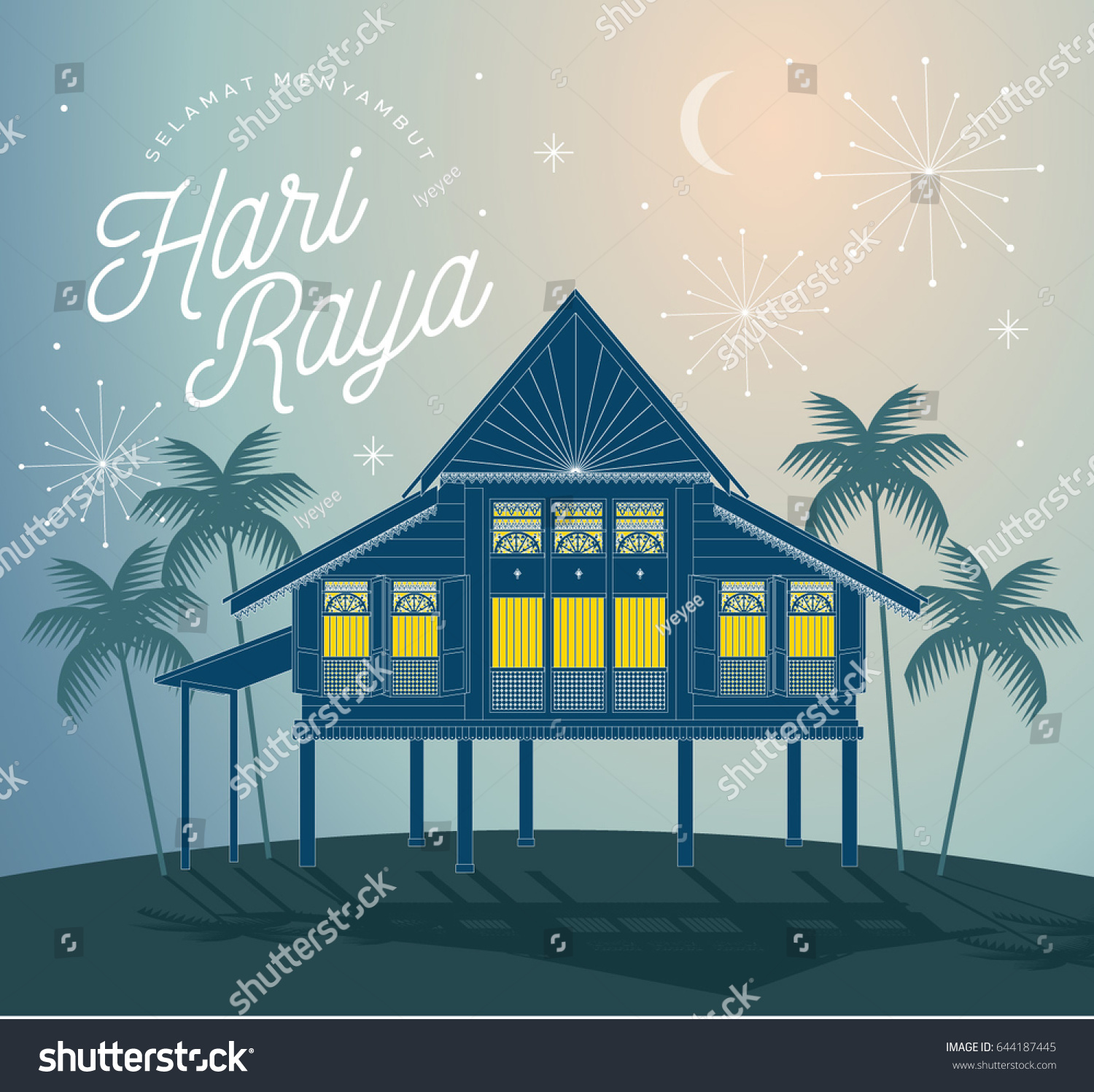 Raya greetings village scene template vectorillustration stock raya greetings village scene template vectorillustration with malay words that mean happy eid m4hsunfo