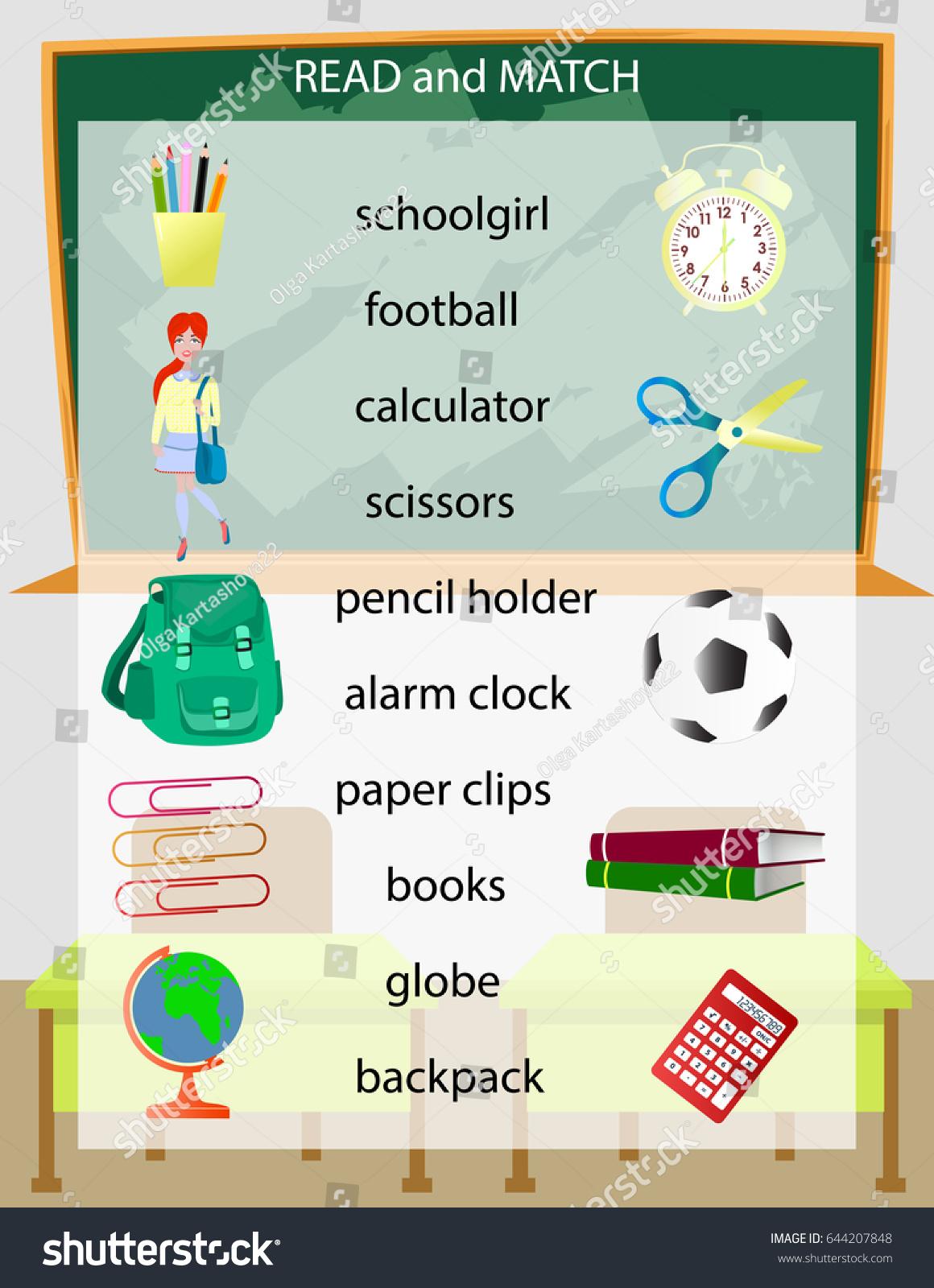 Read Match Kids Printable Game Preschool Stock Vector 644207848 ...