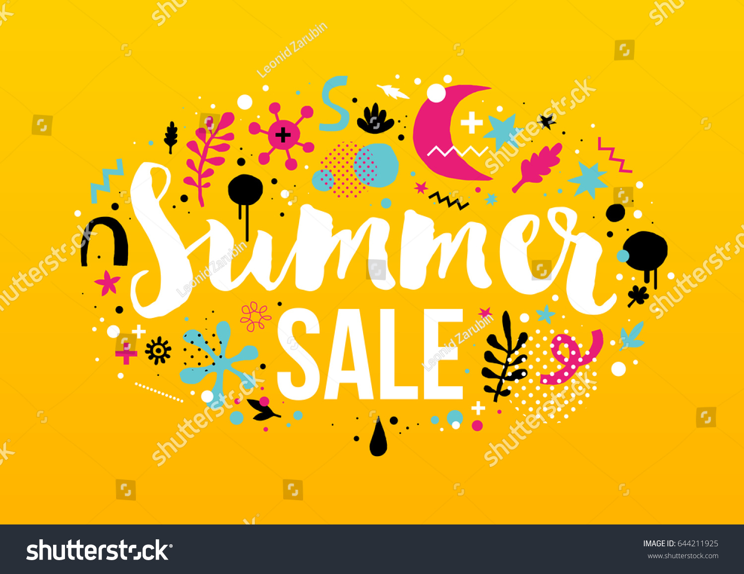 Vector Summer Sale Template Funky Hand Stock Vector 644211925 ...