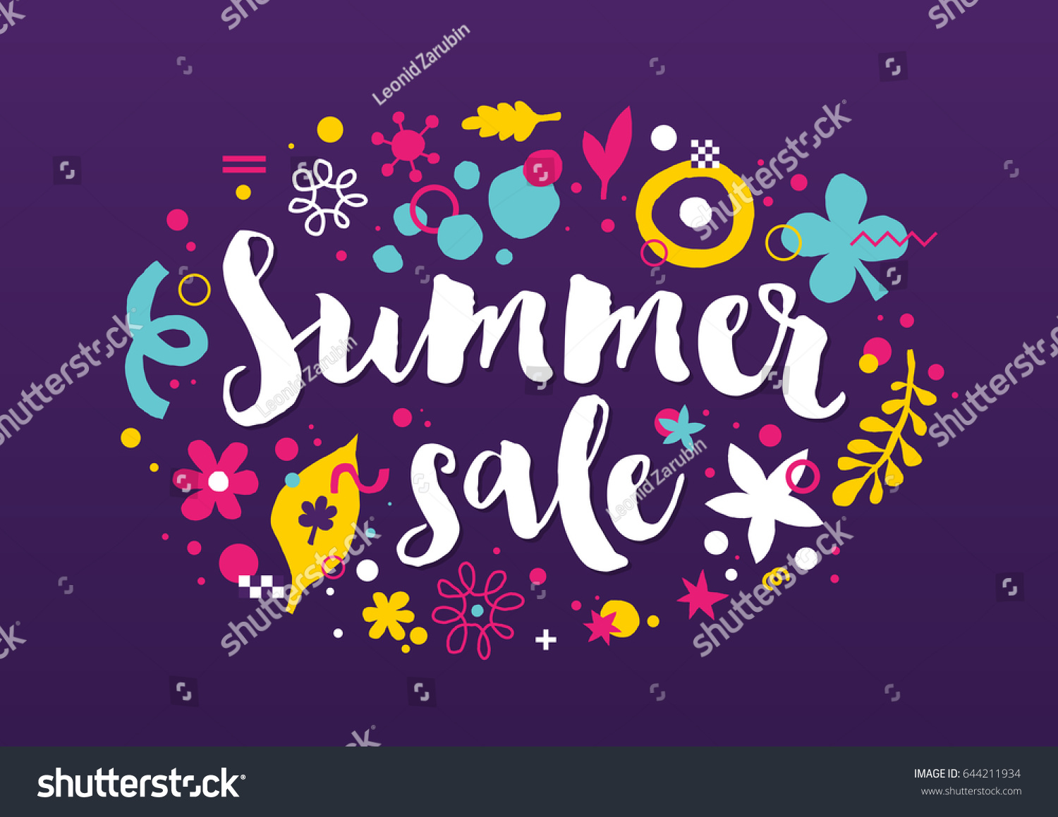 Vector Summer Sale Template Funky Hand Stock Vector 644211934 ...