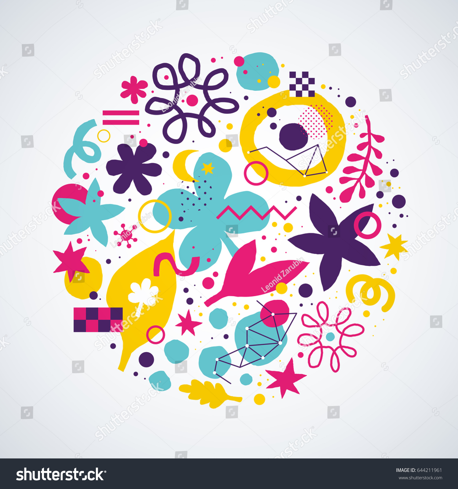 Vector Background Template Funky Hand Drawn Stock Vector 644211961 ...