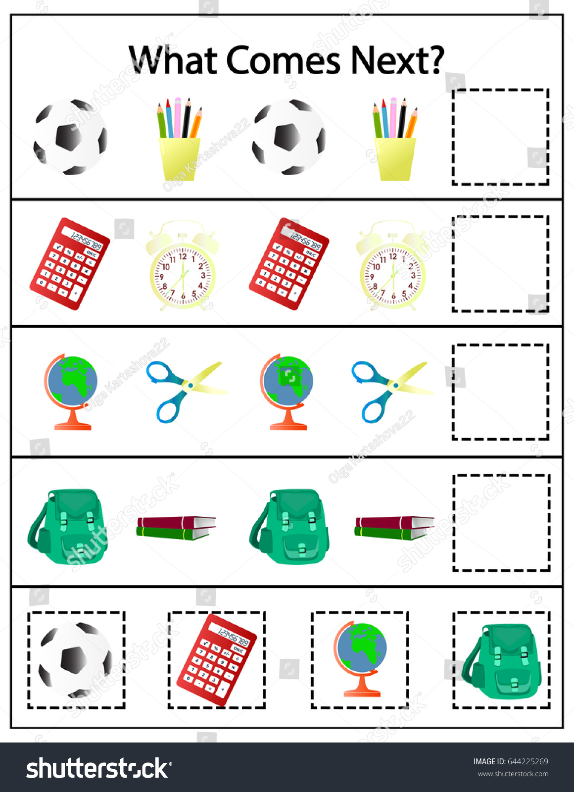 What Comes Next Preschool Kindergarten Worksheet Stock Vector HD ...