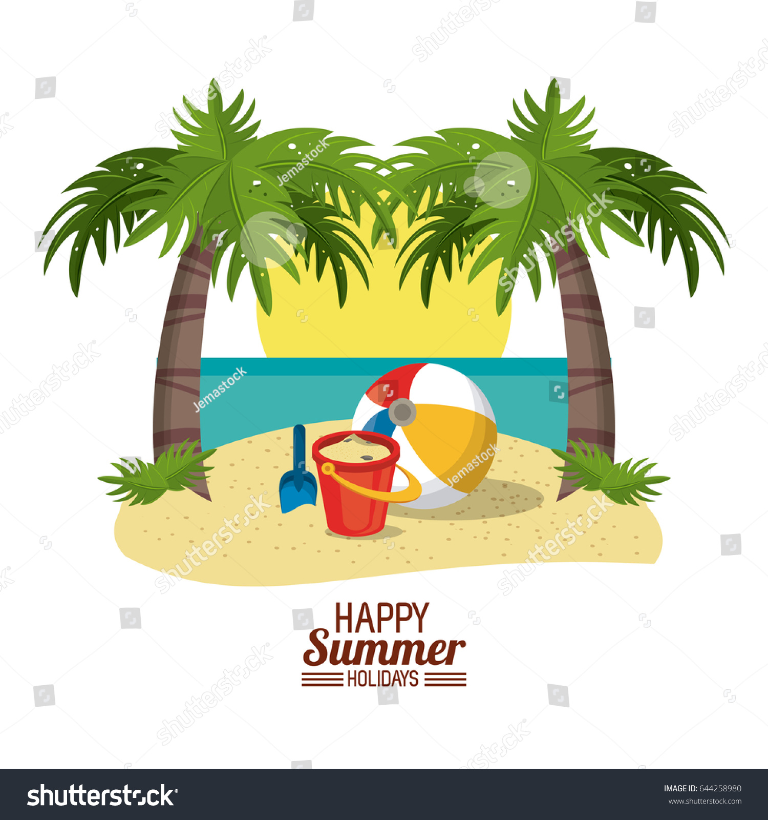 Happy Summer Holidays Poster Sand Bucket Ball Shovel Sun Palm Beach