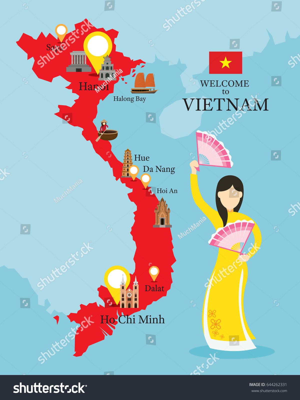 vietnam map landmarks people traditional clothing stock
